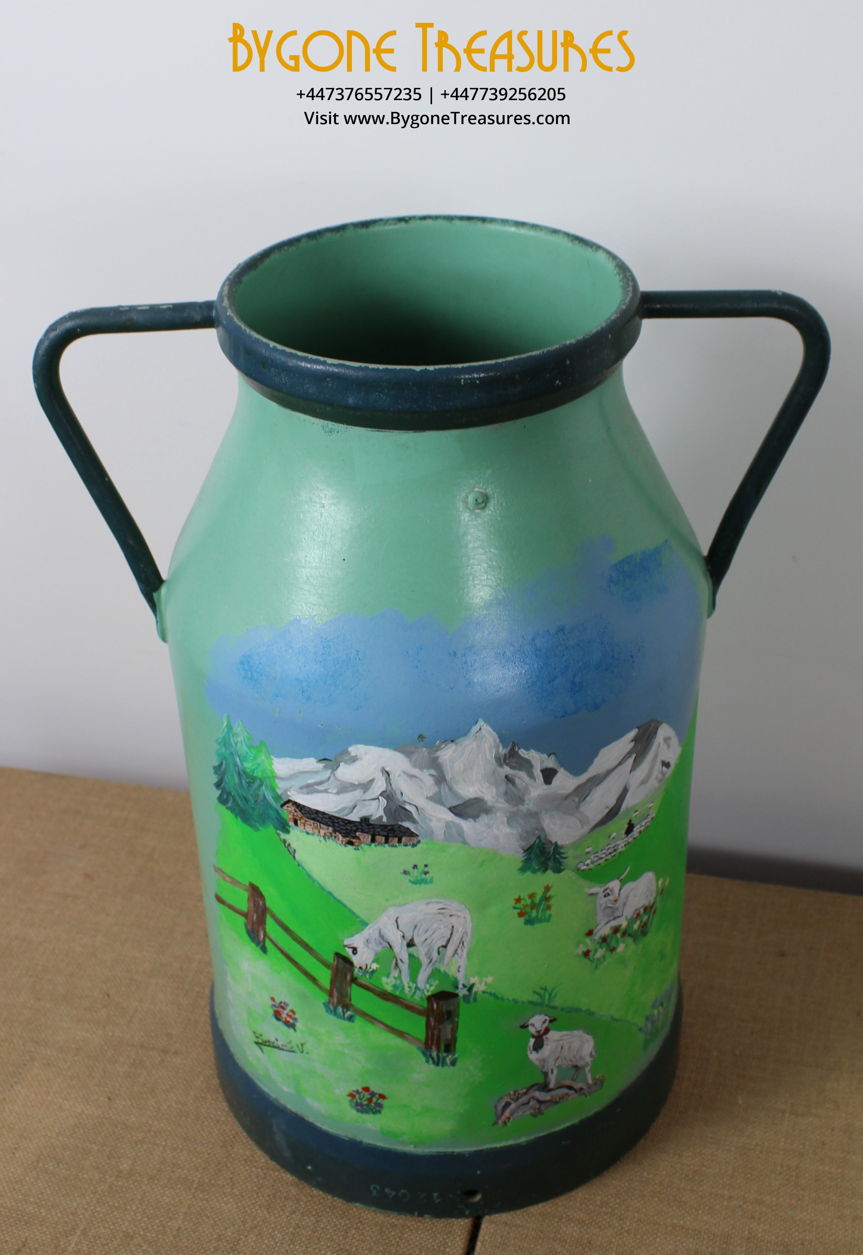 FRENCH HAND PAINTED MILK CHURN – TWIN HANDLE – Two Scenes (10)_result
