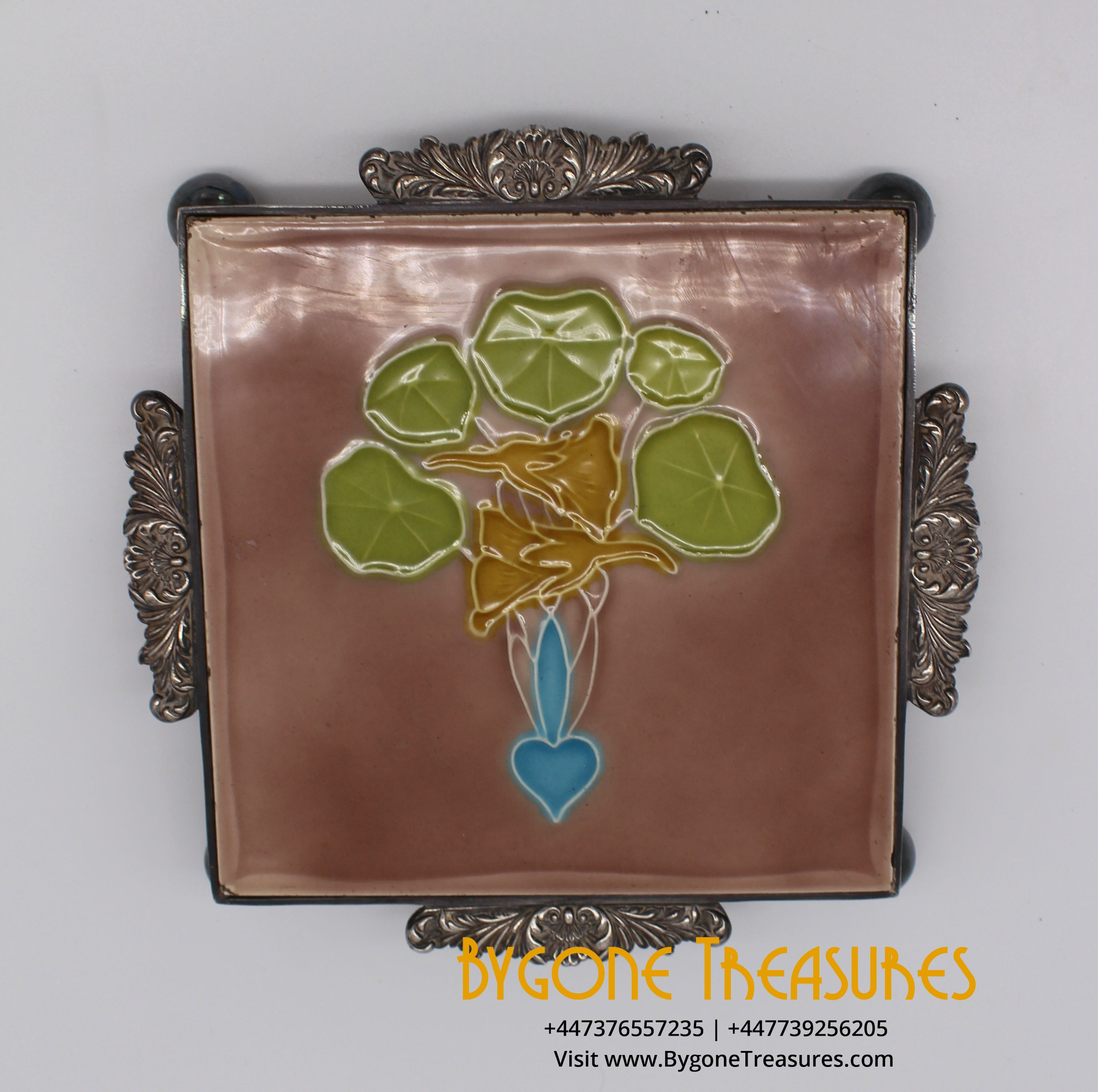 MINTON HOLLINS AND CO ART NOUVEAU VICTORIAN TILE IN CUSTOM MADE SILVER PLATE STAND (2)