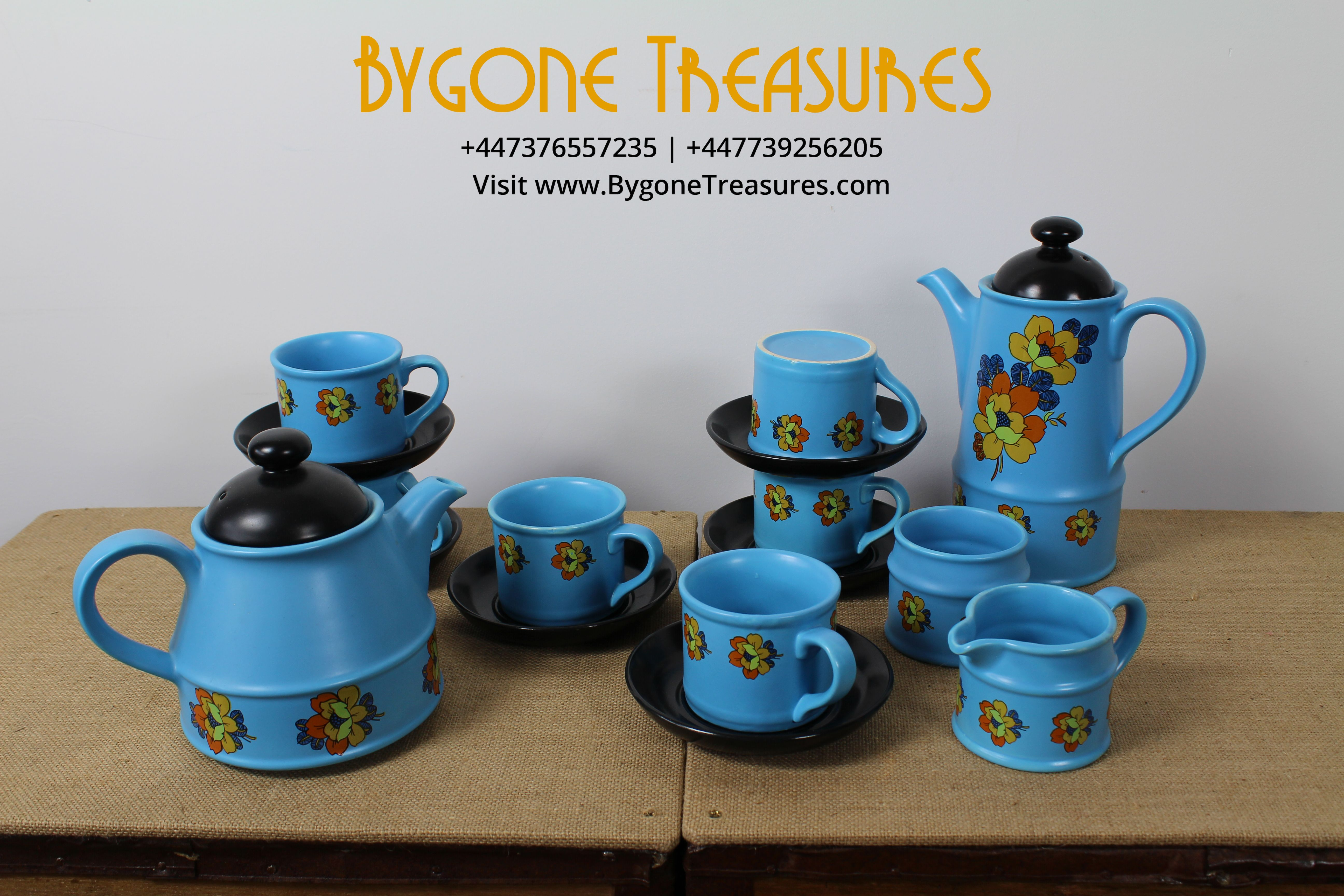 SADLER BLUE AND BLACK COFFEE SET – FLORAL DESIGN – 10 PIECE SET COMPLETE AND IN PERFECT CONDITION