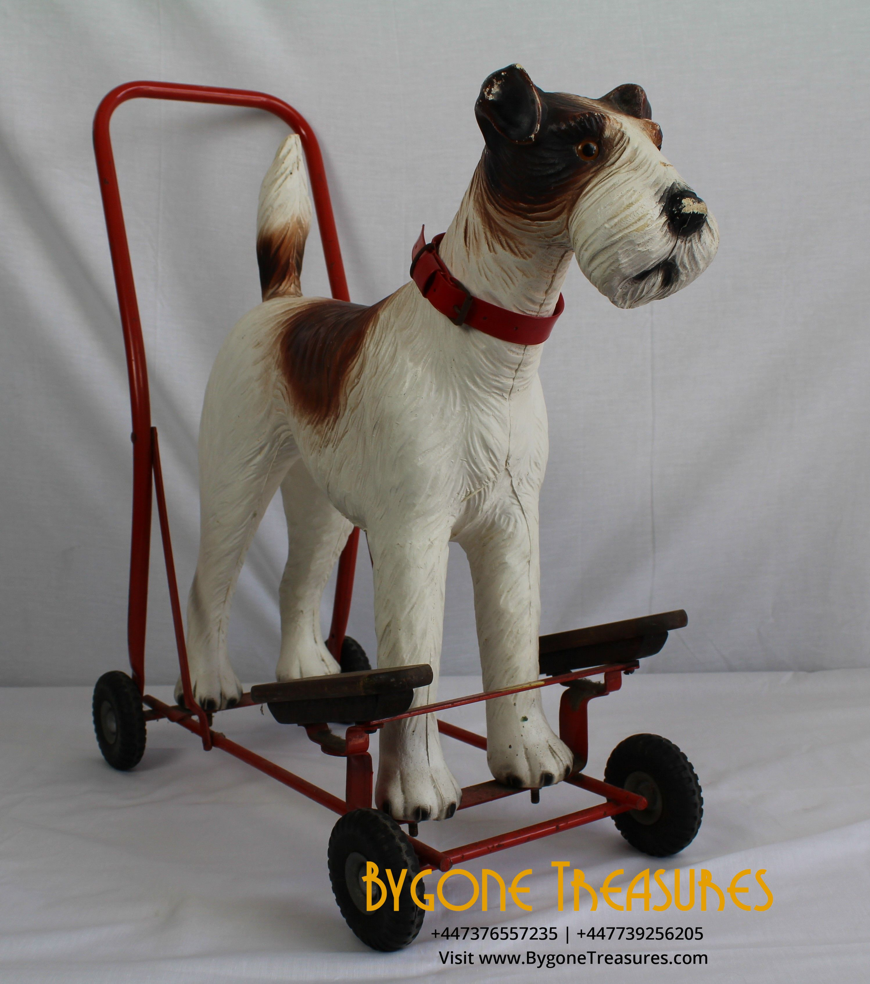 TRIANG 1950s FOX TERRIER PUSH ALONG AND RIDE ON CHILDRENS TOY – AMAZING CONDITION WITH ORIGINAL COLLAR (3)