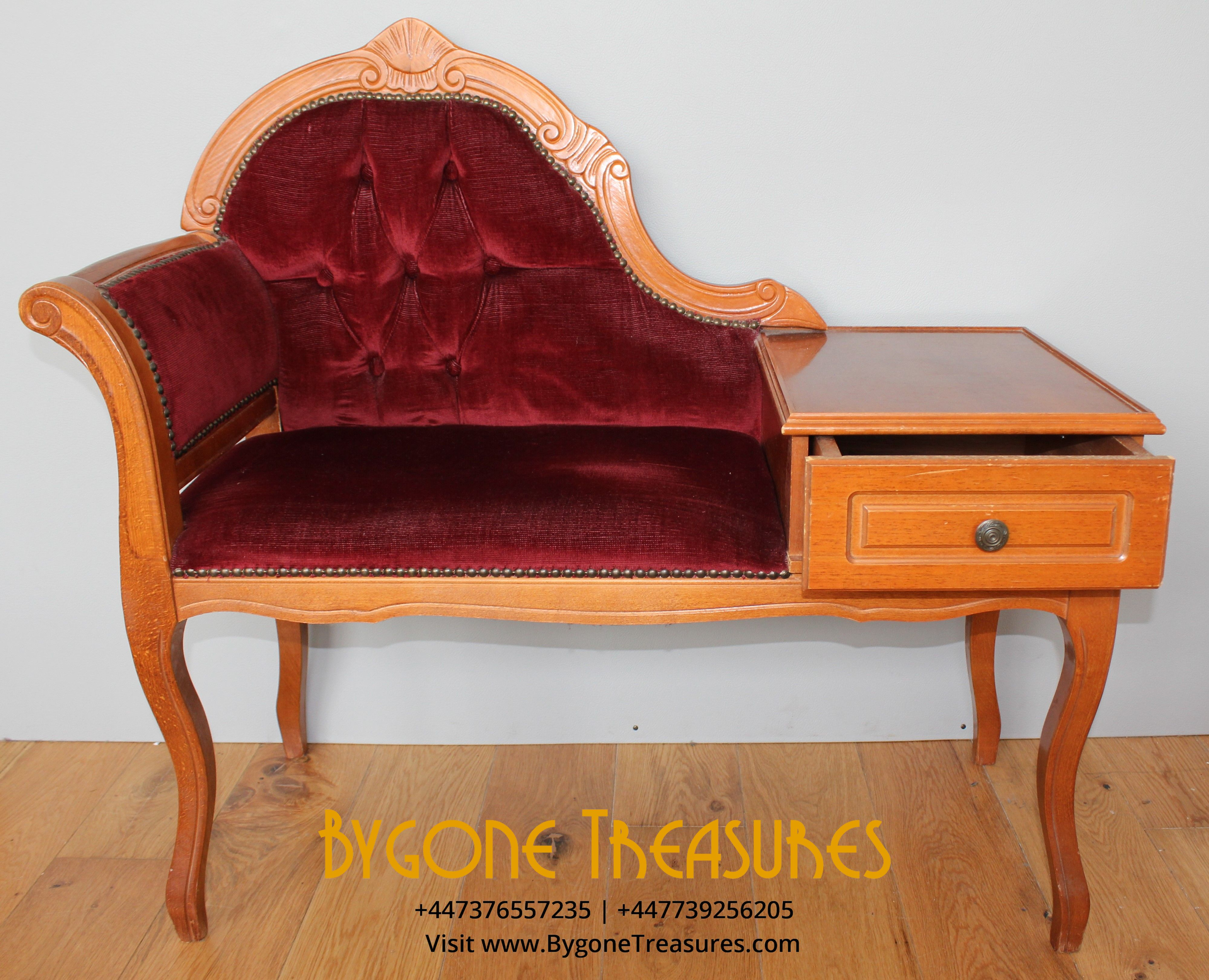 Telephone table with regal red crushed corduroy upholstery (11)_result