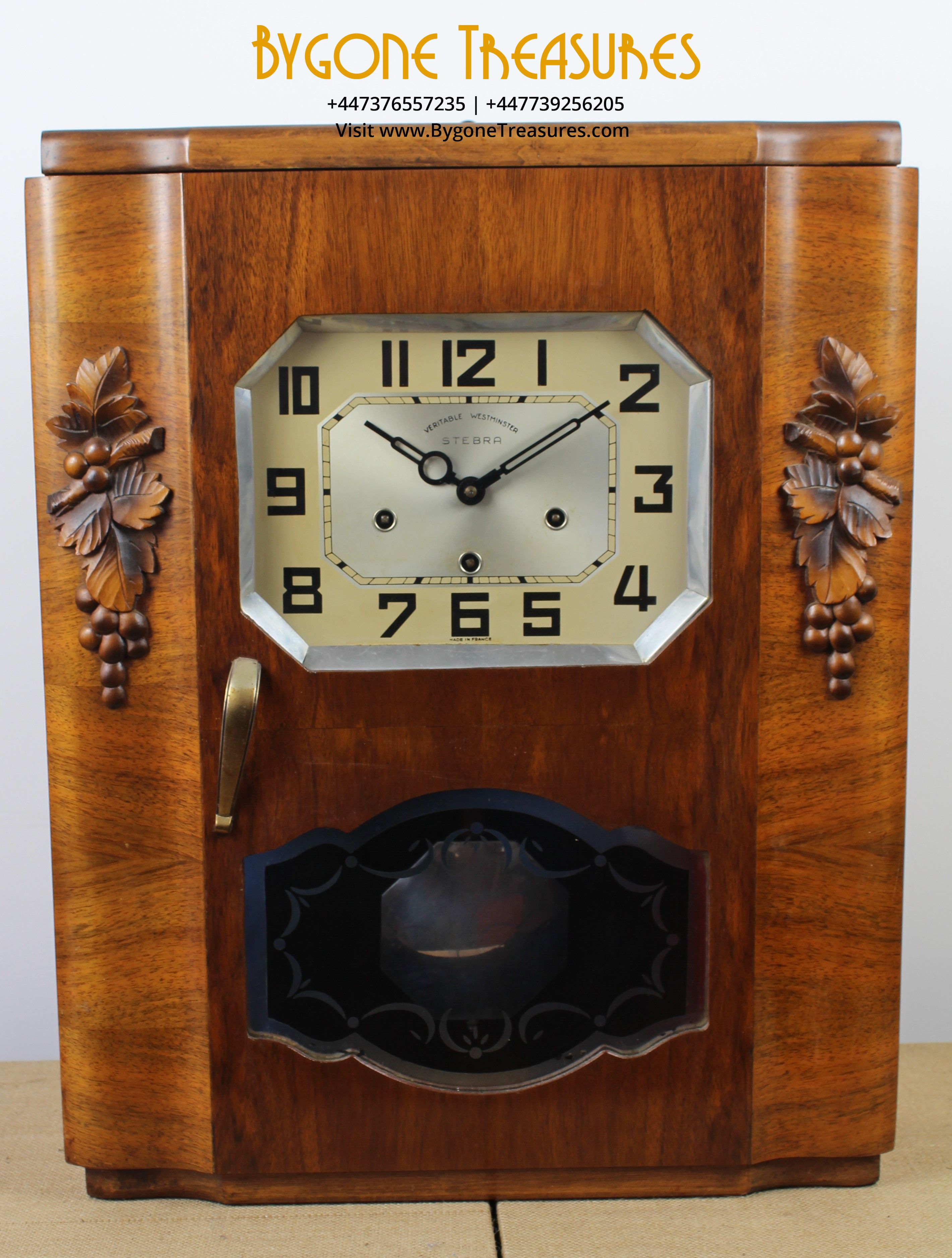1920's Art Deco Wall Mounted Cased Clock by Stebra of France with Westminster Chimes (1)