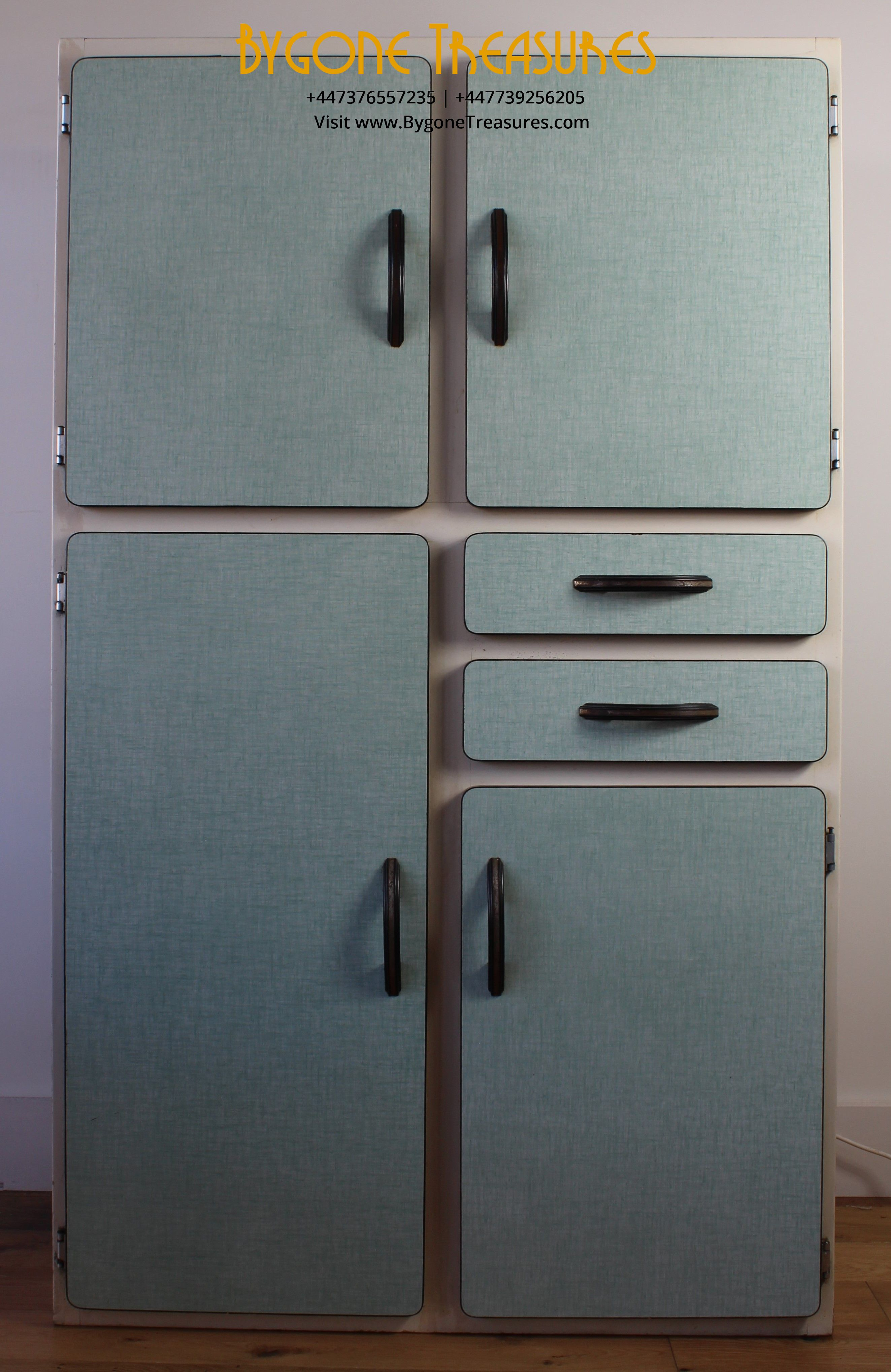 1940's French formica kitchen cupboard – duck egg blue doors and draws with white carcass. All original and complete in excellent condition.