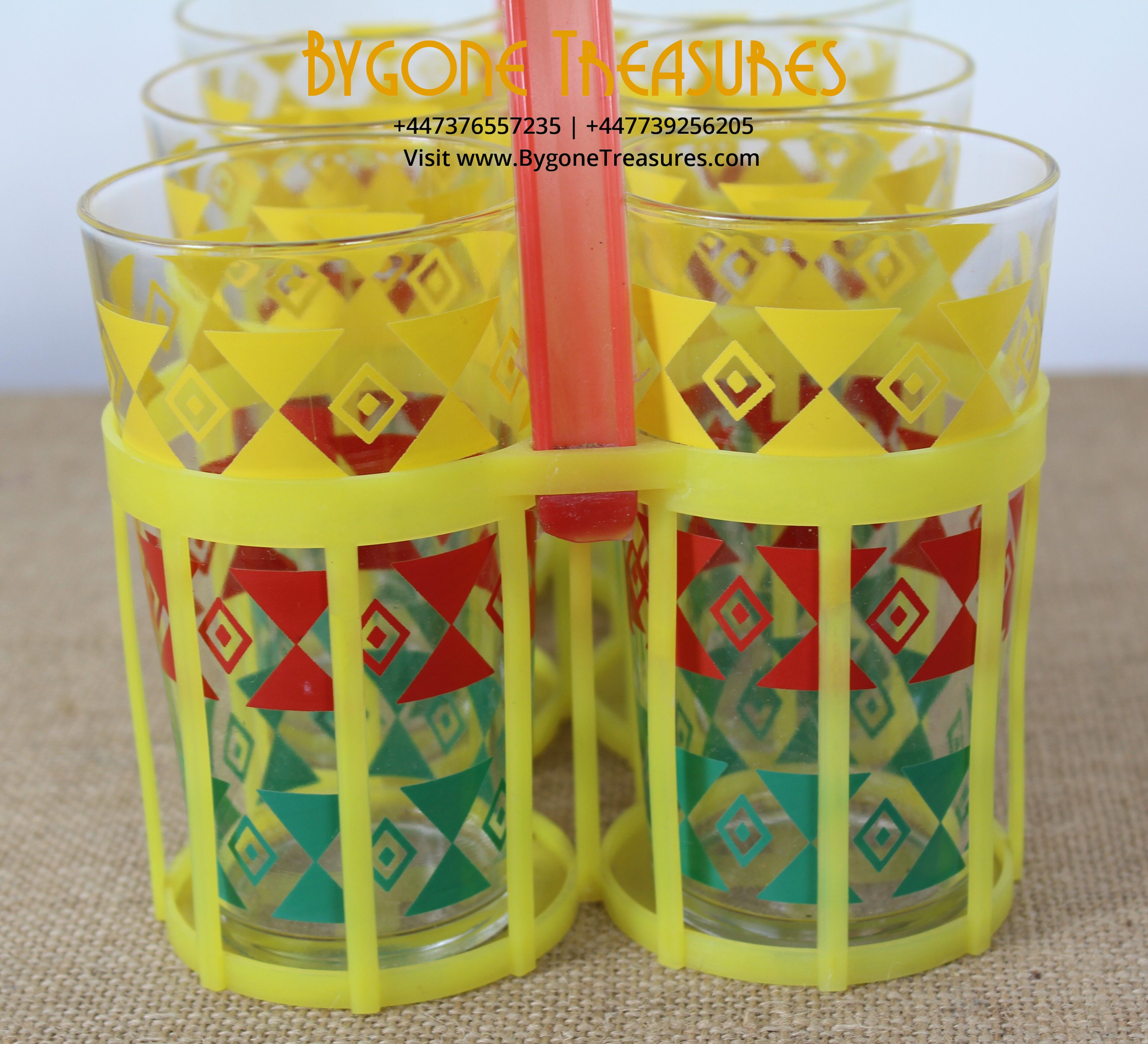 1960's French colourful glasses with original plastic red and yellow carrier 7