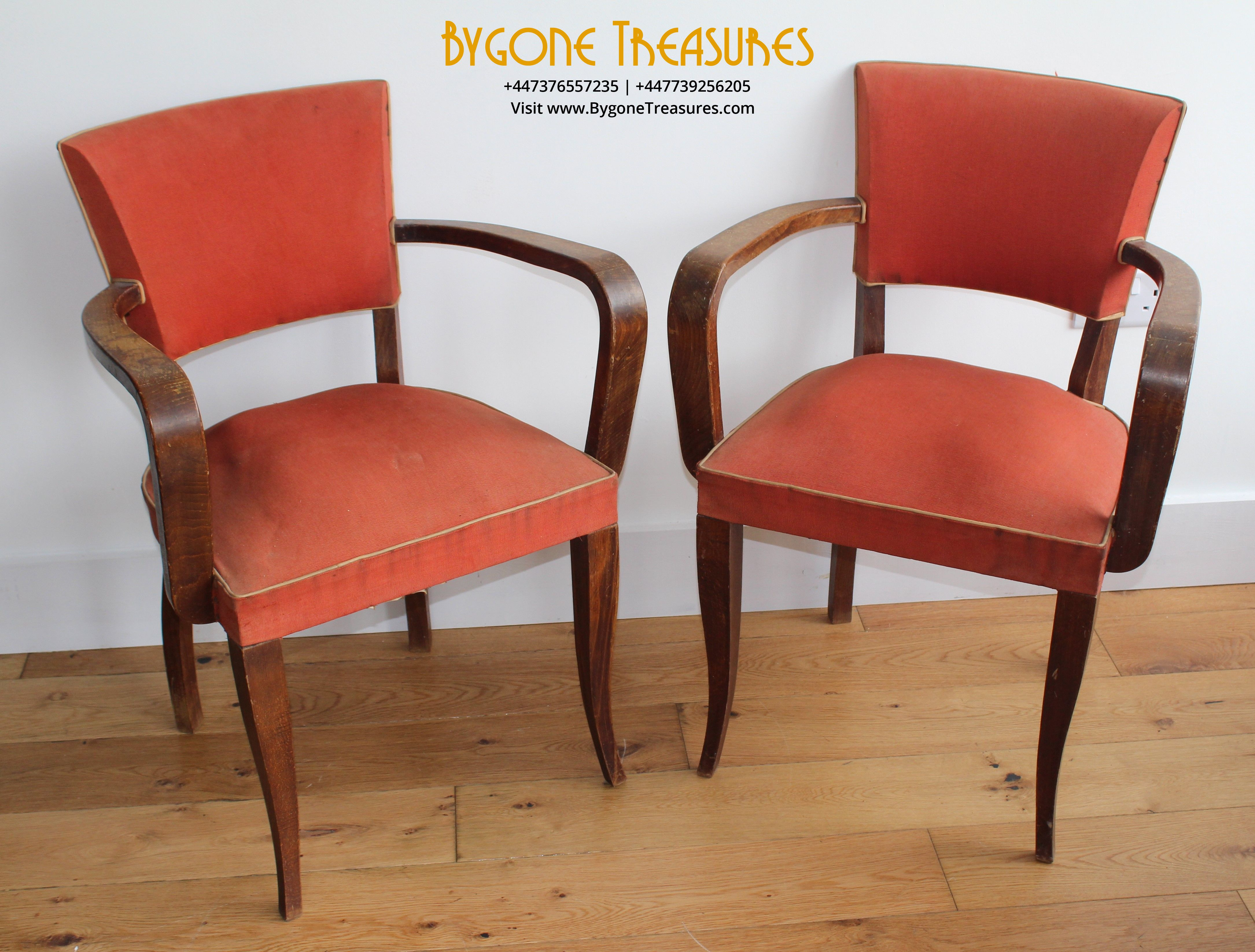 A complete and original pair of 1920's Bridge Chairs in original red cloth with whit (9)