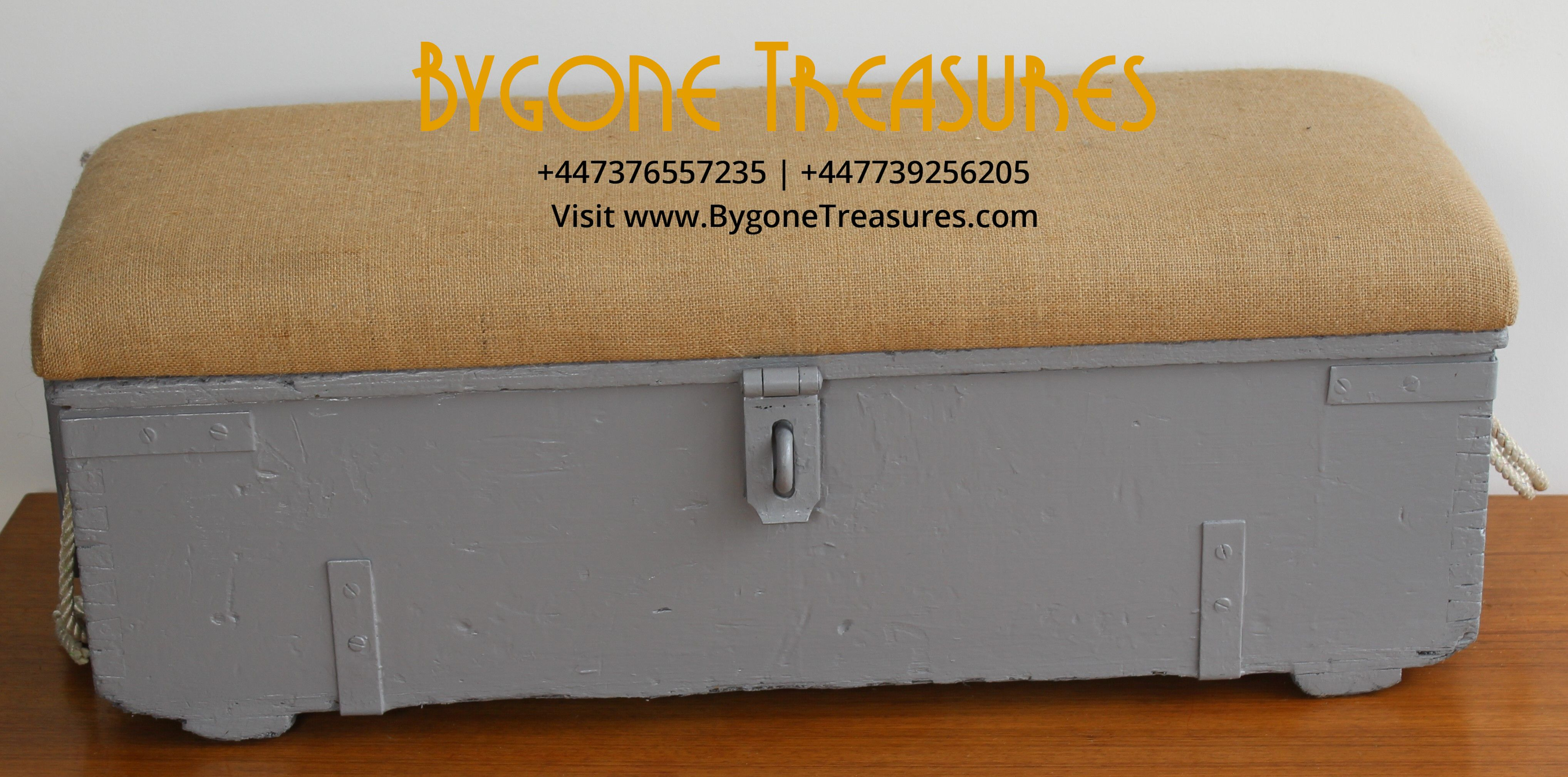 AMMO STORAGE BOX – Grey Base with light brown upholstered covered lid and rope handles (1)