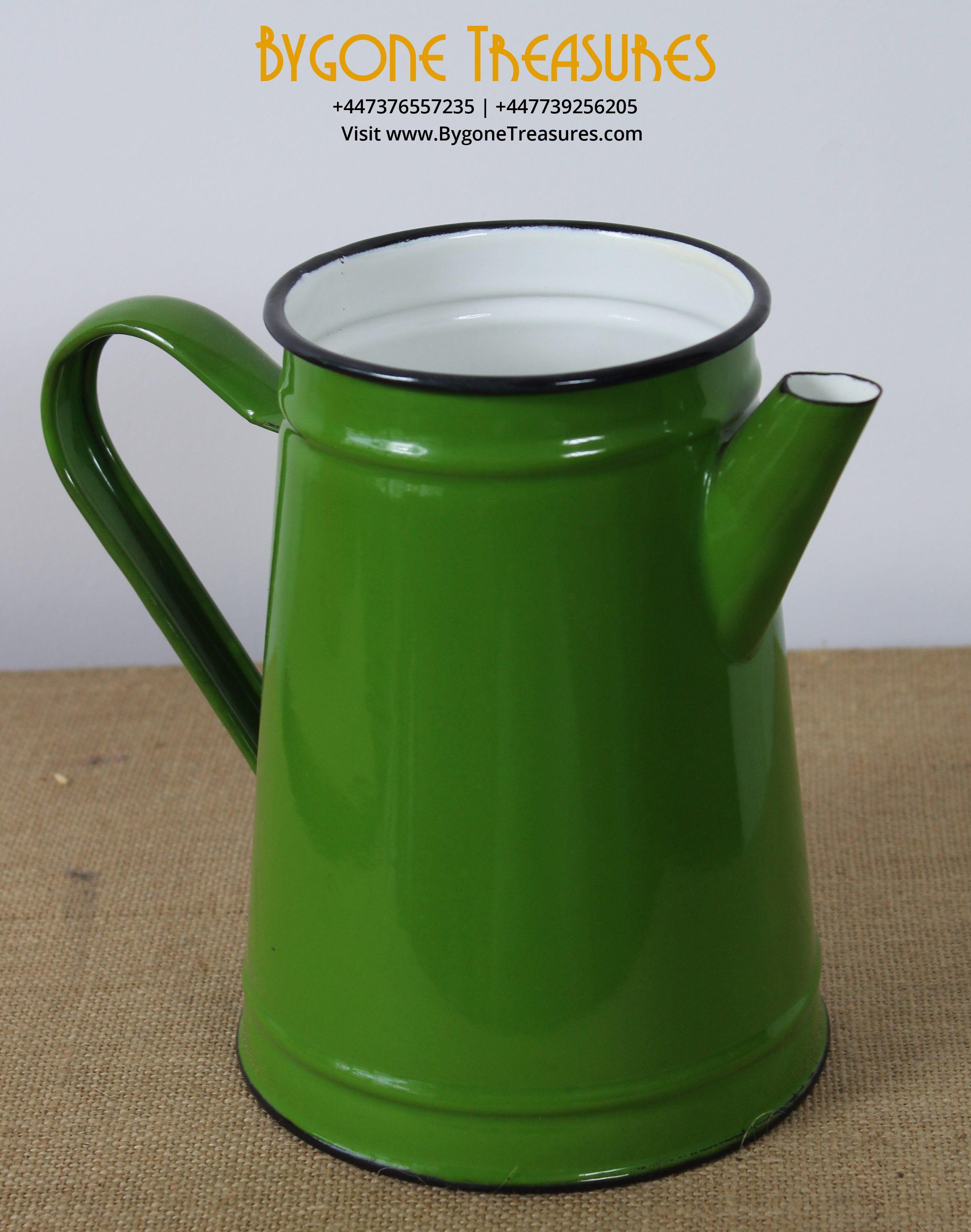 Green Enamel Jug with white enameel lining (2)_result