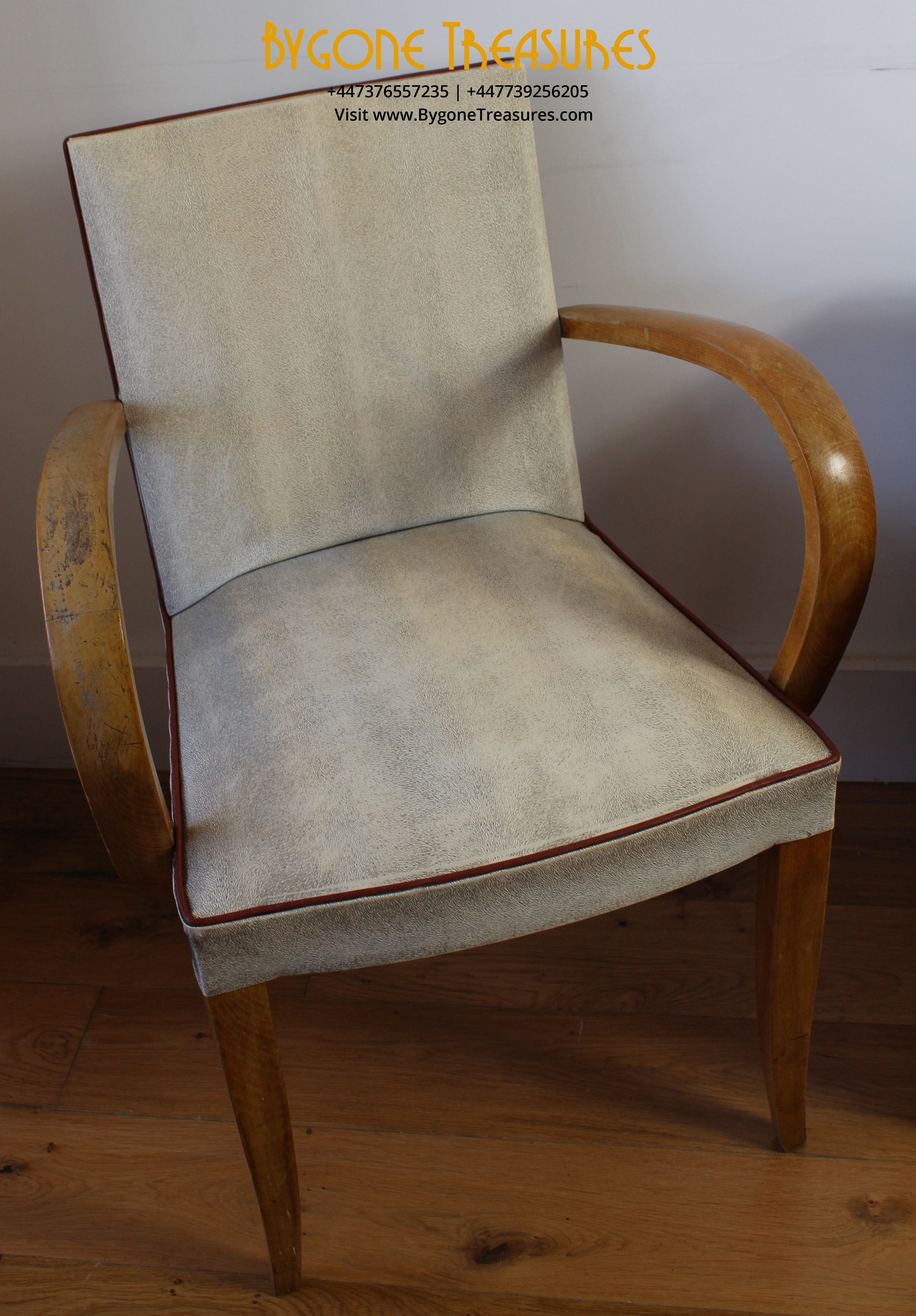 Original and complete pair of 1940s Bridge Chairs in white vinyl and deep burgundy piping (1)