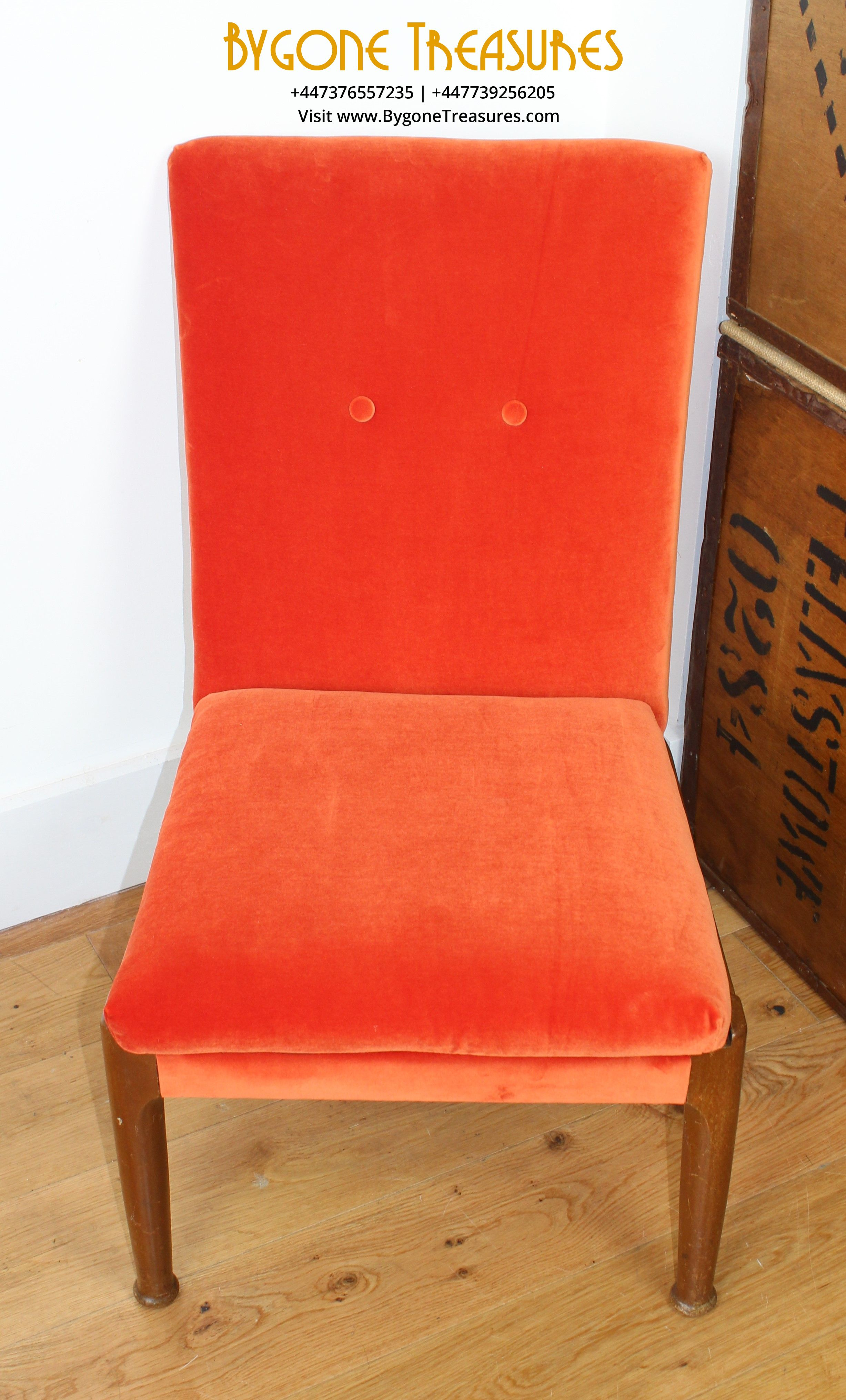 Reupholstered Burnt Orange Velvet Slipper Chair (1)
