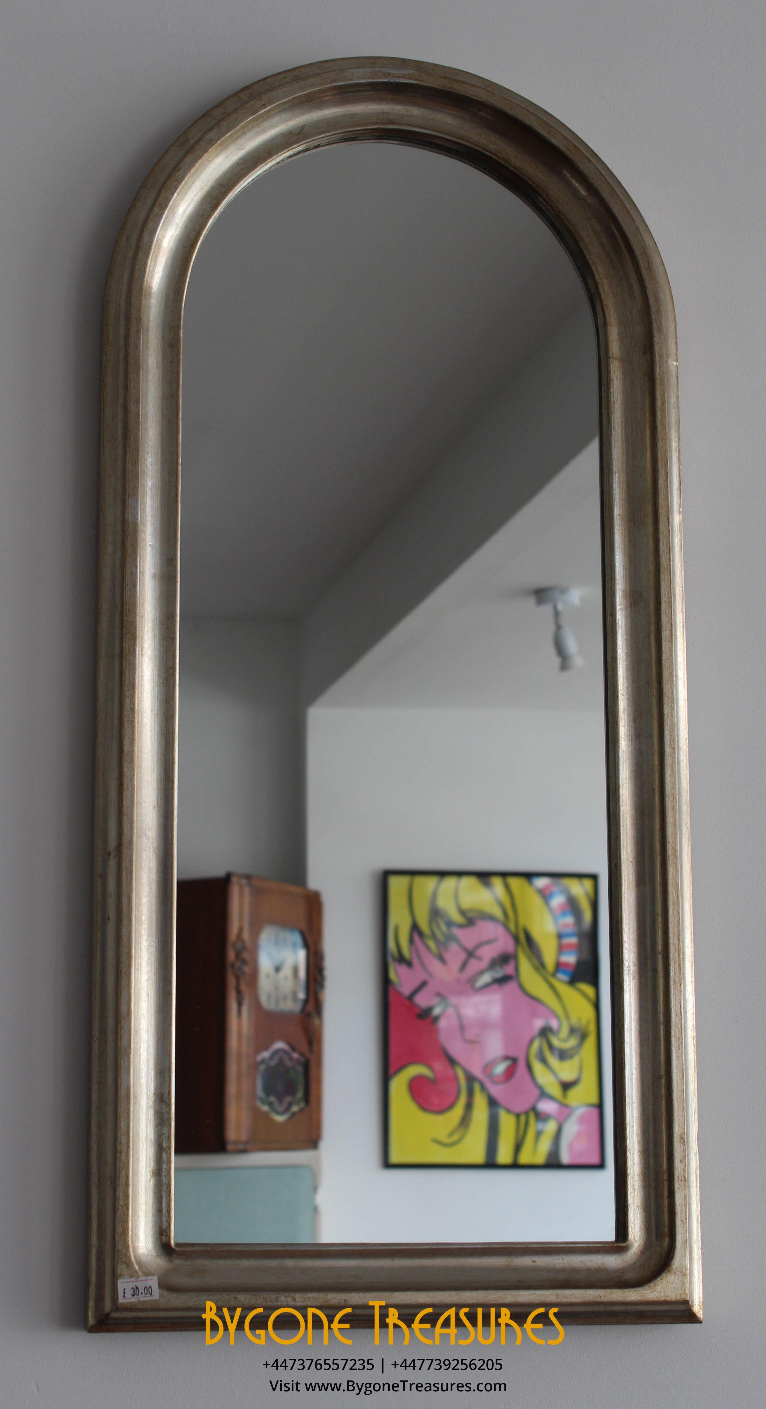 Tall arched gilt wooden framed hall mirror (1)