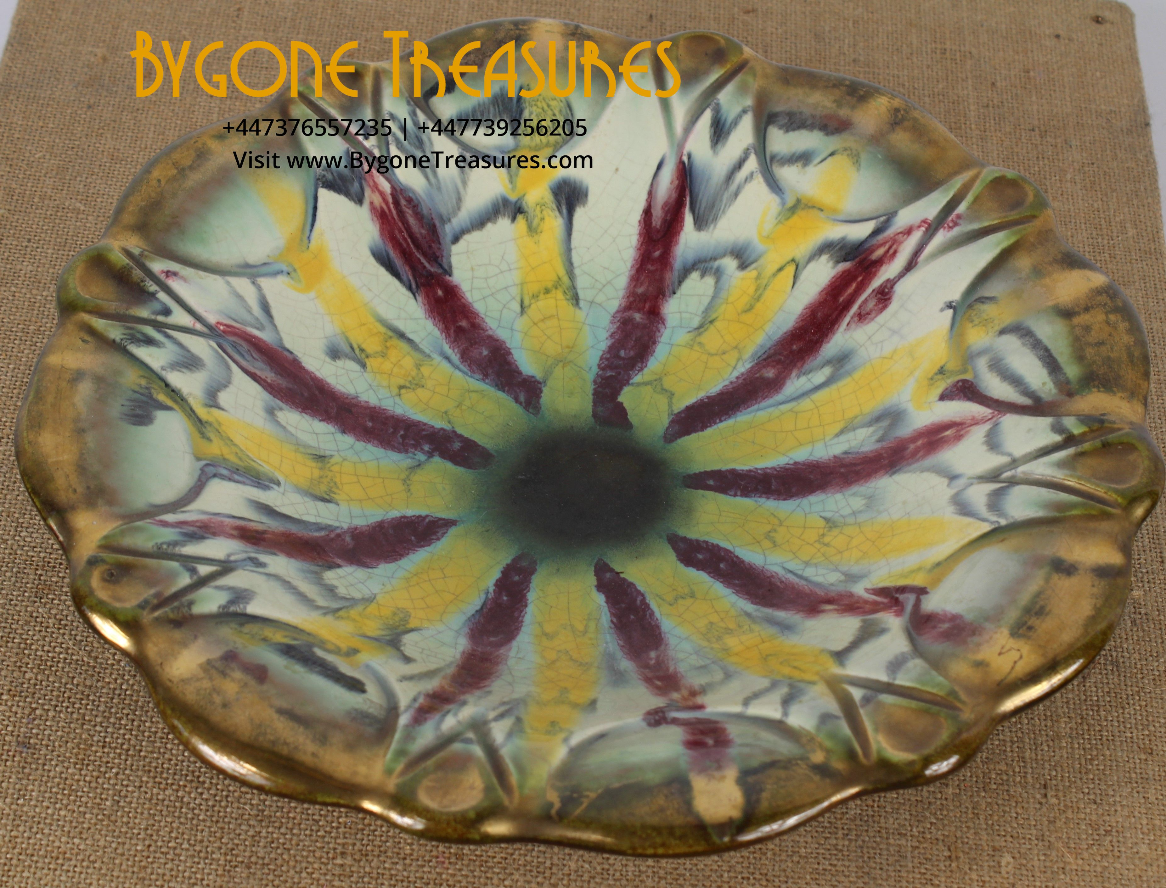 West German Crackle Glaze Dish No. 576 (1)