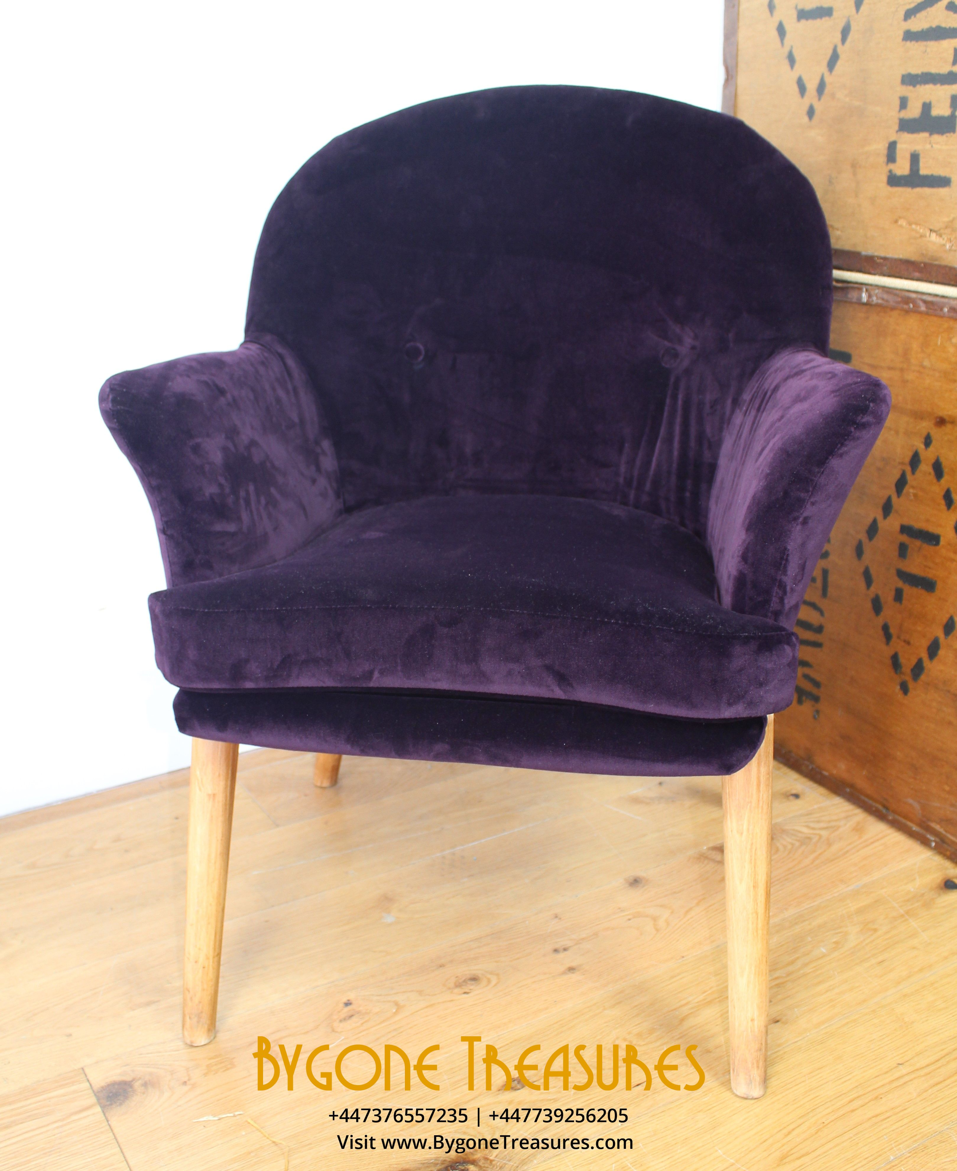 Soft Italian purple velvet re-upholstered chair (5) (2)