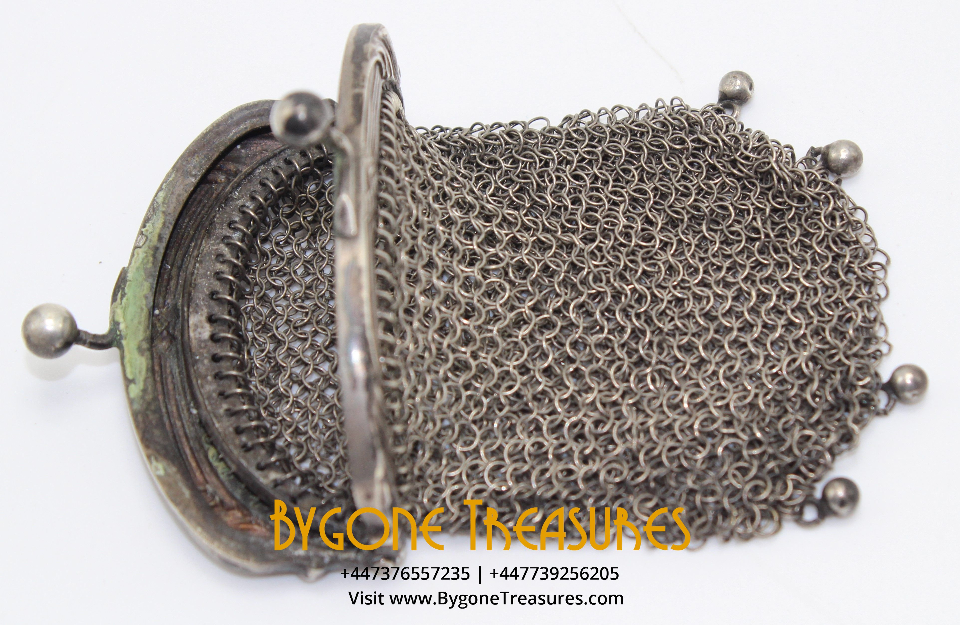 French Silver Chatelaine Chain mail coin purse (7)