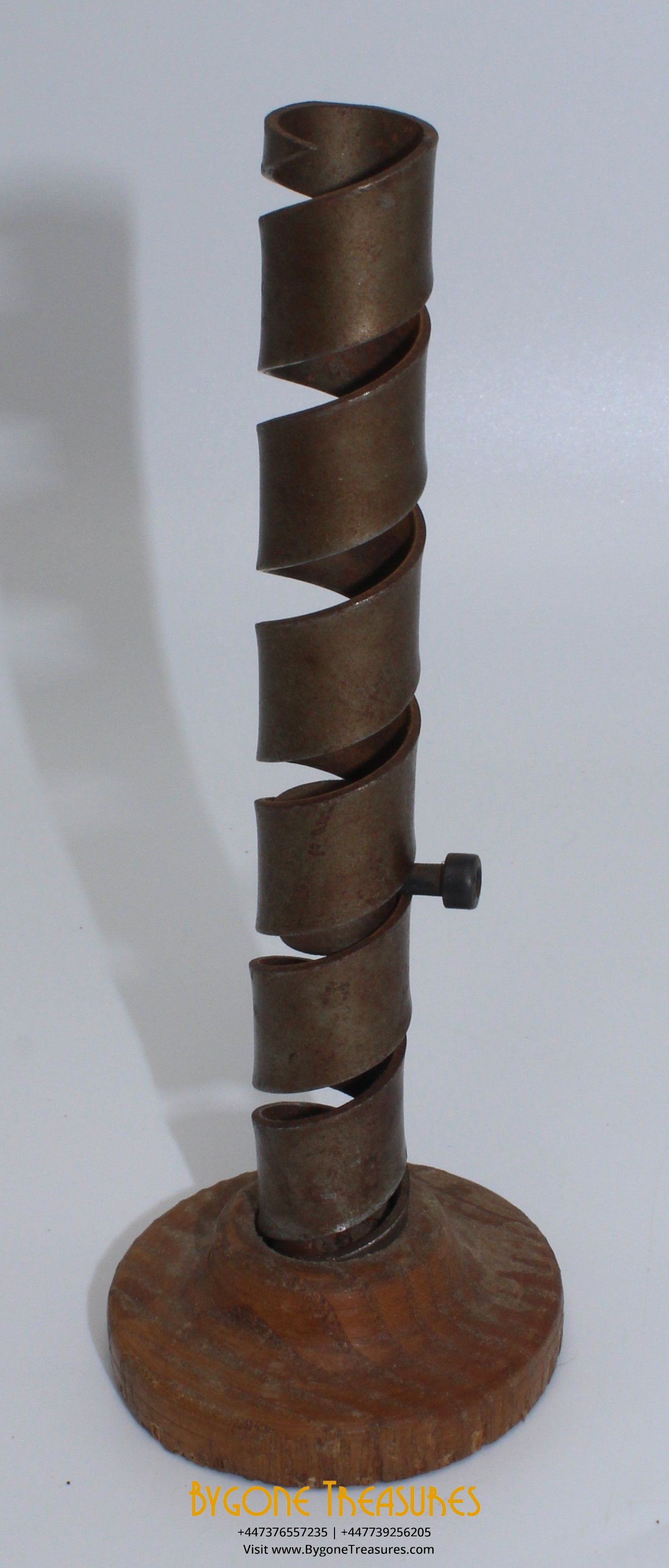 Late 18th Century French Wine Cave Candle Stick with turned wooden base (1)