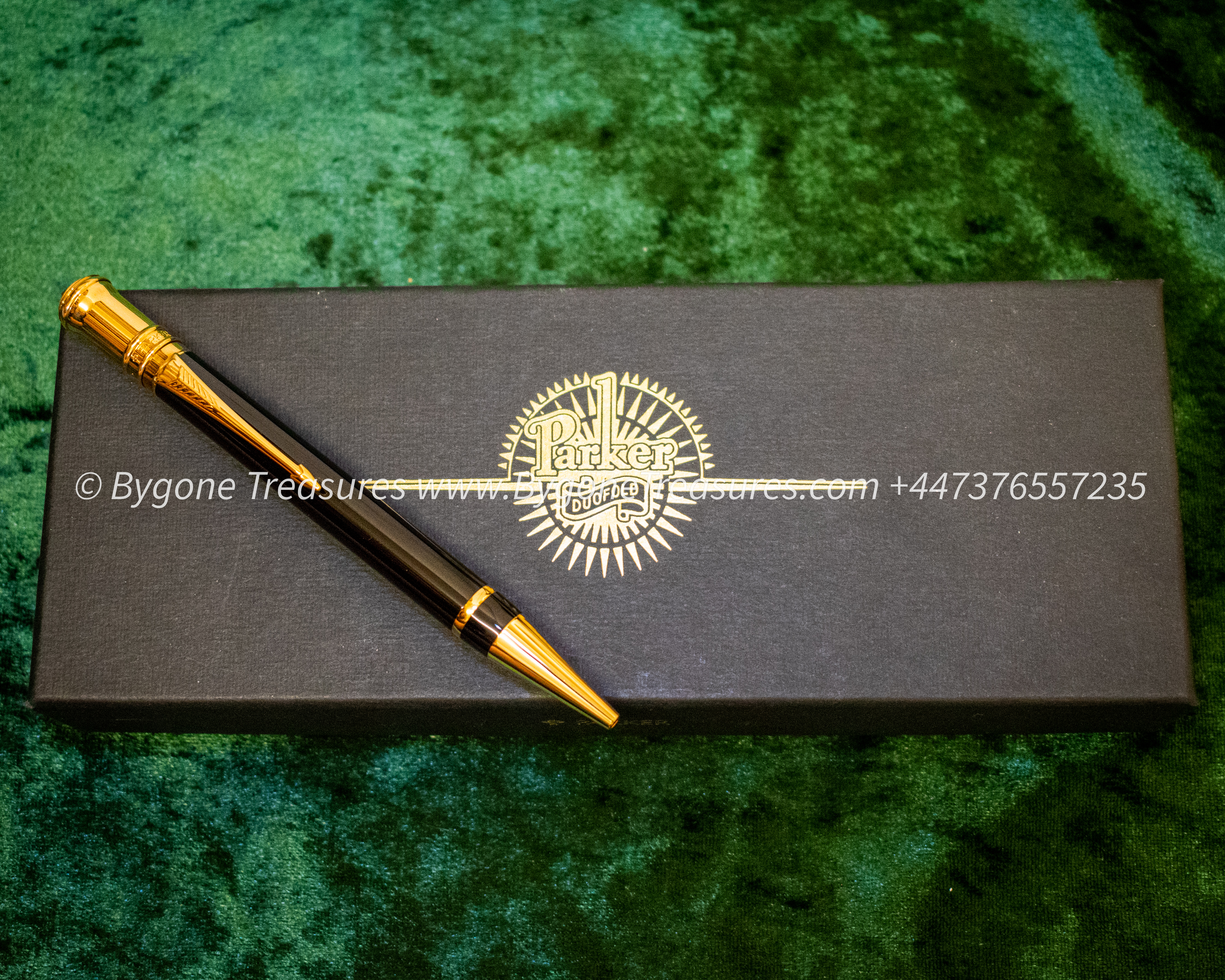 Parker Duofold black Ball Pen 23K gold plating in box with certificate-01